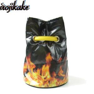 送料無料 irojikake イロジカケ IG1910-BG03 FIRE BAG ファイヤー バッグ ファイヤーパターン 巾着 ワンショルダー ハンドバッグ ブラック メンズ レディース|goldentijuana