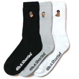 40s&Shorties フォーティーズ & ショーティーズ RAPPER 3 PACK SOCKS ラッパー Notorious B.I.G Biggie Eazy-E ODB Wu-Tang Clan ソックス 靴下 4016MA12|goldentijuana