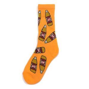 40S & Shorties フォーティーズ&ショーティーズ ORIGINAL BOTTLE SOCKS オリジナル ボトル ソックス 靴下 総柄 オレンジ ピーチ メンズ ユニセックス|goldentijuana
