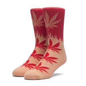 HUF ハフ FLAME PLANTLIFE SOCKS SK00223SP18 フレイム プラントライフ ソックス 靴下 ファイヤーパターン レッド オレンジ メンズ レディース ユニセックス goldentijuana