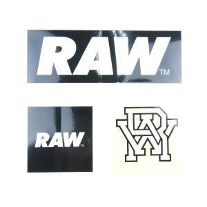 RAW ロウ LOGO STICKER PACK ロゴ ステッカー パック 3枚セット BOSTON ボストン メンズ レディース BLACK ブラック|goldentijuana