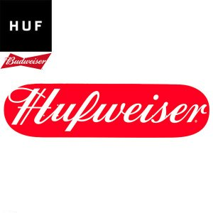HUF x BUDWEISER ハフ バドワイザー SKATEBOARD DECK スケートボード スケート デッキ SKATE  メンズ レディース レッド AC00249HO18 コラボレート 送料無料|goldentijuana