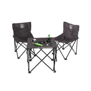 VOLCOM ボルコム BEACH CHAIR SET D67118JB ビーチチェアー セット 折りたたみイス 折りたたみテーブル 簡易イス 簡易テーブル 簡単収納 ブラック|goldentijuana