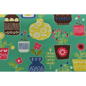 【生地】カットクロス、ホクオウノモリ、木、花、花瓶、キャンバス地、約100cmカット済み110cm巾|goldplants-et