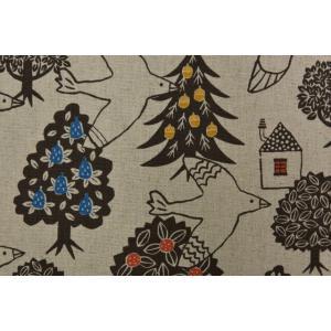 【生地】カットクロス、ホクオウノモリ、木、とり、キャンバス地、約50cmカット済み110cm巾|goldplants-et