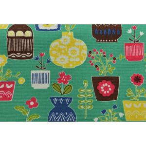 【生地】カットクロス、ホクオウノモリ、木、花、花瓶、キャンバス地、約50cmカット済み110cm巾|goldplants-et