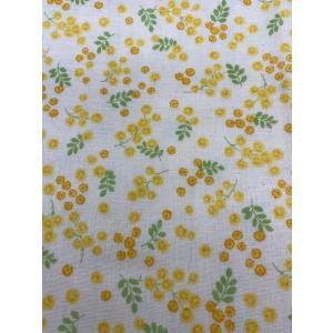 ダブルガーゼ/Wガーゼ/約90cmカット済み/110cm巾/コスモテキスタイル/黄色/花柄|goldplants-et