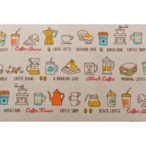 切り売り生地/約26cm巾/コーヒーショップ柄/コーヒー/50cm以上10cm単位/コスモテキスタイル goldplants-et