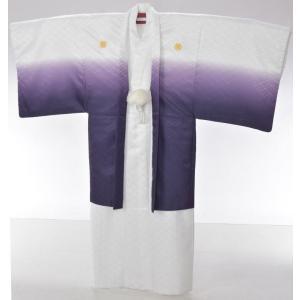 【レンタル】レンタル着物/男性羽織/Lサイズ/卒業式/成人式/紋付/白/紫