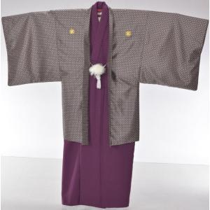 【レンタル】レンタル着物/男性羽織/Lサイズ/卒業式/成人式/紋付/紫