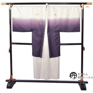 レンタル 男性紋付羽織単品 Lサイズ ホワイト/パープル DK-2 往復送料無料