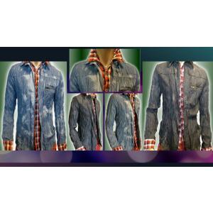 PRORV Bleach Crinkle_layered shirt.(クリンクル加工ブリーチレイヤードシャツ) goldress