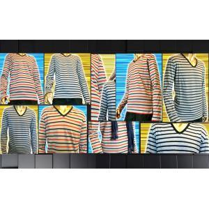 SHAGGY メランジボーダーVネックTシャツ |goldress