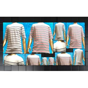 SHAGGY マルチパネルボーダーボートネック Tシャツ (5分袖)|goldress