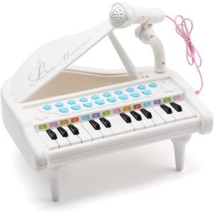 Amy&Benton ピアノおもちゃ 電子ミニピアノ 24キーボードおもちゃピアノ マイク付き キズミニピア 音楽おもちゃ キズキーボード goldriver
