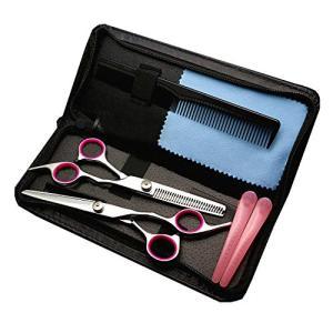 散髪 すきバサミ Pink&Blue2色選択可能 ヘアカット カットハサミ すきばさみ はさみセット 理髪 散髪 プロ 初心者 美容師 理容 goldriver