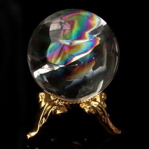 ■サイズ 直径約24mm   台座が付属します。   ■虹入り水晶について  虹入り水晶は、水晶内に...