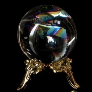 ■サイズ 直径約26mm   台座が付属します。   ■虹入り水晶について  虹入り水晶は、水晶内に...
