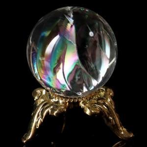 ■サイズ 直径約23mm   台座が付属します。   ■虹入り水晶について  虹入り水晶は、水晶内に...