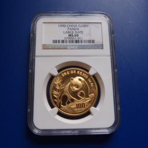 中国 パンダ金貨 1オンス  1990年 LD MS69|goldtohki