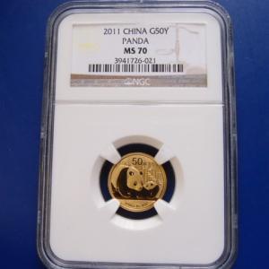 中国 パンダ金貨1/10オンス 2011年 MS70|goldtohki