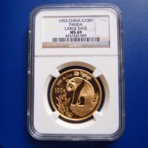 中国 パンダ金貨 1オンス 1993年 LD MS69|goldtohki