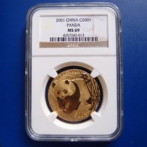 中国 パンダ金貨 Iオンス 2001年 MS69|goldtohki