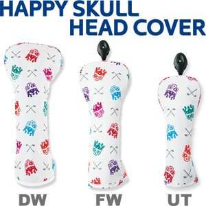 WINWIN STYLE ウィンウィンスタイル HAPPY SKULL ハッピースカル  ヘッドカバー (ドライバー用/フェアウェイウッド用/ユーティリティ用)|golf-atlas