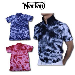 ノートン メンズ ポロシャツ 半袖  Norton 新作     アクセントカラーのホワイトとムラ染...