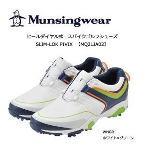 【2018年 NEWモデル!】マンシングウェア Munsingwear メンズ ゴルフスパイクシューズ ヒールダイヤル式 SLIM-LOK PIVIX(防水 軽量)MQ2LJA02|golf-season