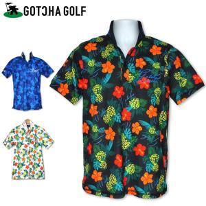 可250円 ガッチャゴルフ メンズ 半袖ポロシャツ トロピカル総柄 DRY 182GG1223 GOTCHA GOLF 春夏 18SSゴルフウェア男性用 半そで ロゴ 刺繍トップスの商品画像|ナビ