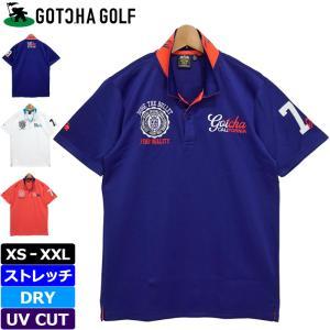 ガッチャゴルフ 2021 メンズ 吸水速乾 UVカット 4WAYストレッチ 半袖 ポロシャツ 212GG1290 エンブレム GOTCHA GOLF  21SS ゴルフウェア トップス JUL1|golf-thirdwave