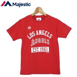 メール便発送OK マジェスティック ジュニア MLB ロサンゼルス エンゼルス チームロゴ 半袖 Tシャツ レッド YB01-LA-9S03-RD 日本正規品 キッズ トップス 野球|golf-thirdwave