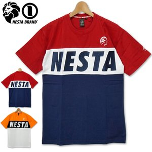 ネスタブランド 吸水速乾 クルーネック 半袖 Tシャツ メンズ 202NB1021 カラー切り替え NESTA BRAND 春夏秋 20SS トップス ファッション|golf-thirdwave