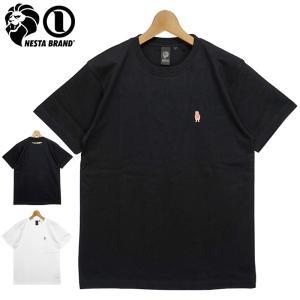 ネスタブランド 2021 コットン クルーネック 半袖 Tシャツ ワンポイント刺繍 サマーネスタライオン 212NB1023 NESTA BRAND メール便発送 21SS ファッション JUN1|golf-thirdwave