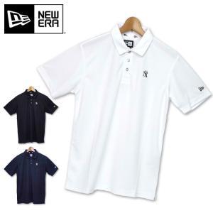 NEWERA ニューエラ メンズ ニューヨーク・ヤンキースロゴ入り 鹿の子 半袖 ポロシャツ 19SS 半そで ゴルフウェア メンズウェア スポーツ野球|golf-thirdwave