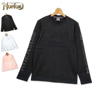Norton メンズ 長袖 Tシャツ クルーネック 3Dエンボス ロゴ 201N1104 ノートン TEE 春夏秋 20SS|golf-thirdwave