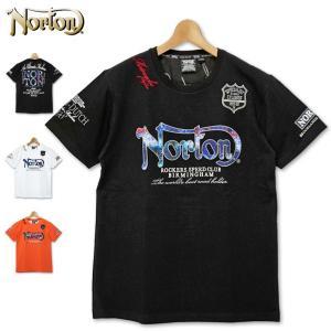 メール便発送 ノートン 吸汗速乾 半袖 クルーネック Tシャツ 202N1001 ブルースチール ワッペン Norton 20SS 半そで メンズ ファッション|golf-thirdwave
