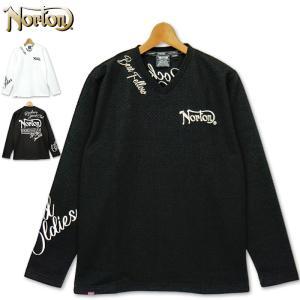 ノートン Vネック 長袖 Tシャツ 立体ジャガード織り 203N1112 Norton 20FW 長そで メンズ ファッション|golf-thirdwave