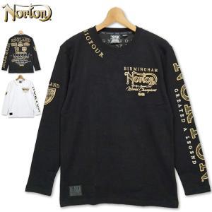 ノートン 2021 刺繍 クルーネック コットン 長袖 Tシャツ 211N1101 ゴールデン ペイズリーワッペン Norton 21SS 長そで ロングTシャツ メンズ ファッション|golf-thirdwave