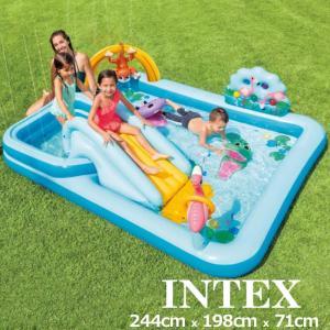 即納在庫あり INTEX インテックス ジャングルアドベンチャー プレイセンター プール 滑り台・噴水付 244cm×198cm×71cm 57161NP ジャングル アドベンチャー|golf-thirdwave