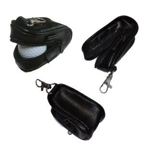 オリジナル カラビナ付 ブラック レザー ボールケース 265 ファスナータイプ 【200円ゆうメール対応】|golfhands