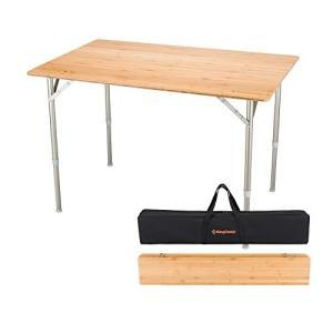 KingCamp (キングキャンプ) アウトドアテーブル 竹製表面 ロールテーブル 折り畳み式 アル...