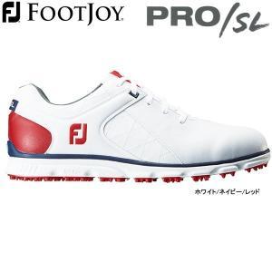 【先行予約】【17年モデル】 フットジョイ スパイクレス ゴルフシューズ プロ/エス・エル (Men's) 56853 (ホワイト/ネイビー/レッド) 横幅(ウィズ)/W|golfolympic