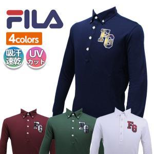 フィラ FILA ゴルフ 長袖 ボタンダウン ポロシャツ チェック柄 モチーフ 吸汗速乾 UVカット 全4色 788-523G