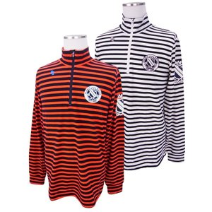 【NEW】PEARLY GATES パーリーゲイツ メンズ プレミアウォームハーフジップ ボーダーシャツ =JAPAN MADE= 053-8166109/17D|golfwaveonline2