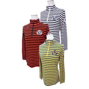 【NEW】PEARLY GATES パーリーゲイツ レディス プレミアウォームハーフジップ ボーダーシャツ =JAPAN MADE= 055-8166110/17D|golfwaveonline2