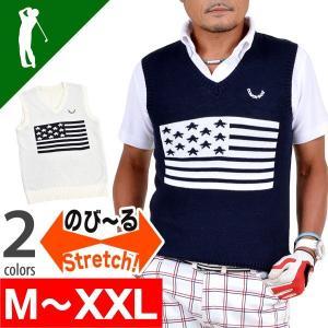 ゴルフウエア大きいサイズベストコットン綿100%メンシンプルネイビーホワイトゴルフベスト 星条旗デザインコットンゴルフベスト CG-BS648 golfwear