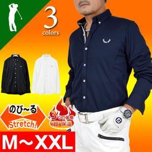 ゴルフウェア ポロシャツ 長袖 メンズ ストレッチ シャツタイプ ボタンダウン 防寒 秋 冬 大人 秋冬 新作 CG-LP711G|golfwear