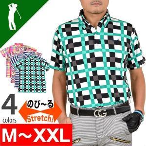 ゴルフウェア ポロシャツ メンズ ゴルフウエア ドライ素材ストレッチボタンダウン半袖ゴルフポロシャツ CG-SP601|golfwear